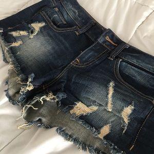 Express Low Rise Distressed Denim Shorts